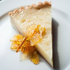 Vinegar pie with salt brittle from Underbelly in Houston -  To update the decades-old recipe, pastry chef Victoria Dearmond trades a standard crust for traditional tart dough, and uses cane vinegar and double strength apple cider for the filling. Crunchy caramel brittle dusted with Galveston sea salt is sprinkled on top.