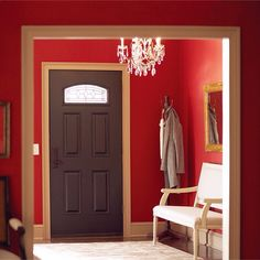 Cranberry Zing is the perfect paint color for a bold entryway.