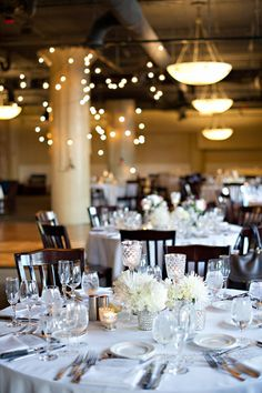 Industrial Lights. Collection Centerpiece. White Mum, Hydrangea Collection  Fulton's on the River Wedding. Summer Jean Photography. Sweetchic Events. Larkspur.