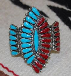 OLD PAWN NATIVE AMERICAN TURQUOISE CORAL BRACELET CUFF