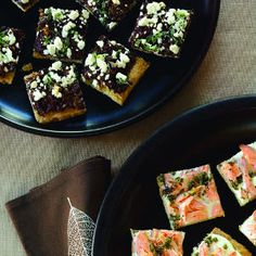 Autumn open-house party | Tapenade Goat-Cheese Canapes and Smoked Salmon Canapés