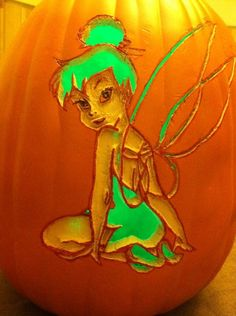 All about tinkerbell on pinterest tinker bell cake for How to carve tinkerbell in a pumpkin