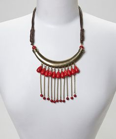 Love this Gold & Red Turquoise Teardrop Bib Necklace on #zulily! #zulilyfinds
