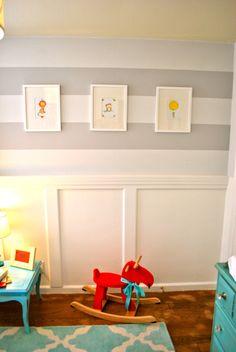 Striped nursery wall and wainscoting