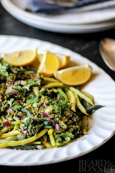 Green Beans with Red Onion, Pistachios, and Herbs