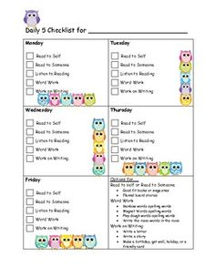 Maybe adapt for new readers and for Daily 5 Morning Work--Owl Daily 5 Checklist - a nice idea for kids to track their own choices