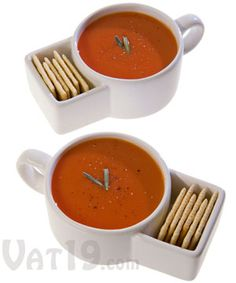 Soup & Cracker Mugs (set of 2)  Set of ceramic mugs featuring a built-in cracker caddy....would be great for cookies and milk too!