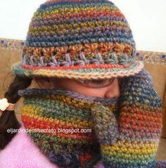 Gorro, cuello y manoplas de ganchillo para mi princesa.(Crocheted hat, gloves and collar scarf for my princess)