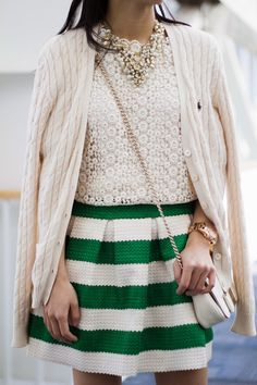 Green and White Striped Skirt