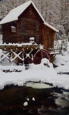 Winter Grist mill Snowy Creek