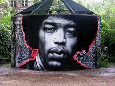 3D street art. Jimi Hendrix.
