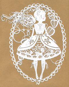 Lolita Scherenschnitte by Weedfairy on deviant paper cut, girl hair, paper craft, inspiration tattoos, cut idea, paper art, papers, artist, papercut