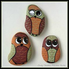 Hoot Hoot - owls painted on rocks by Cindy Thomas