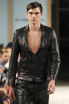 Men's embossed leather jacket & pants by Etxeberria SS13