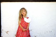 Girls Holiday Red and White Polka Dot Charmeuse Satin Dress