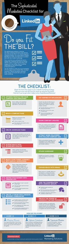 The Sophisticated Marketer's Guide to #LinkedIn, an infographic. Today's successful marketers aren't just good at one thing; they are multifaceted
