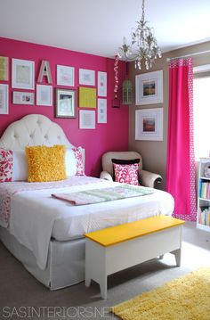 Girl Bedroom - Children's - Bedroom - Images by SAS Interiors | Wayfair  I COULD PAINT EACH WALL BY THEIR BED A COORDINATING COLOR AND BE DONE WITH IT....HMMMM