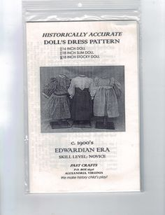16 or 18 Inch Doll Sewing Pattern Victorian 19th by PastCrafts, $15.00
