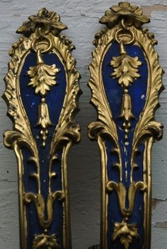 Lovely Pair 19th century French Metal Drapery Tiebacks with Old Blue Paint Decoration, 2.25x8""