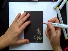 Coloring Embossed Images with Copics.. so cool! Emboss with white powder and color with copics!