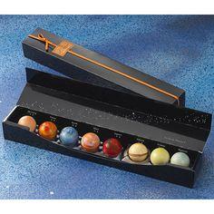Solar system and meteorite chocolate candies! NERD LOVE.