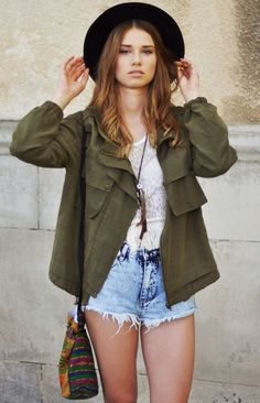 Military jacket, long necklace, white tank, and high rise shorts
