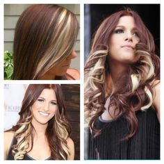 Love this style! Perhaps with a rich chocolate brown instead of the auburn, with the amazing amazing light blonde chunky peekaboo highlights and chunky blonde bang! So excited we can hopefully do this next week if possibly @Rachel Kiers ?? Please say it's doable :) lol (I know I change my mind alot!)