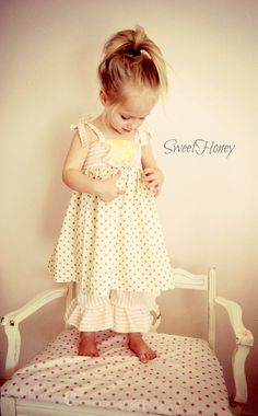 Little Girls Spring Easter Outfit  Pink Cream Grey Yellow SweetHoney Dress/Tunic Outfit with Ruffle Pants