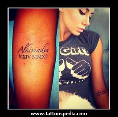 201 Roman Numeral Forearm Tattoos..I'd love this with my daughter's name & DOB