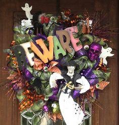 Deco Mesh SCARY BEWARE HALLOWEEN Wreath by decoglitz on Etsy