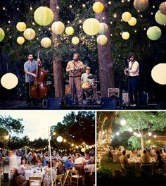 Love the lanterns and string lights for a backyard party