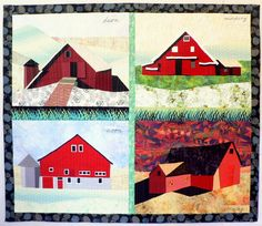 "Summertimes,  65""h x 75""w, by Nancy Bardach.   Barns at dawn, morning, noon and evening, a four part composition."