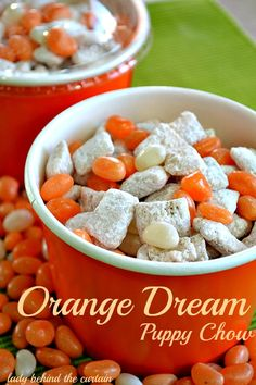 Lady Behind The Curtain - Orange Dream Puppy Chow #fall #falltreats #fallbaking #fallrecipes #autumn #halloween #halloweenrecipes #halloweendecorating