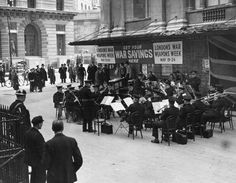 24th May 1941: A police band playing outside Mansion House in London as part of War Weapons Week. (Photo by Fox Photos/Getty Images)