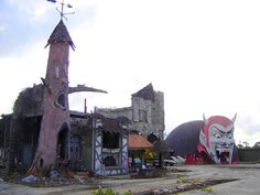 The derelict remains of the Haunted Castle dark house ride and Dante's Inferno at Miracle Strip Amusement Park, Panama City Beach, Florida, via Flickr.