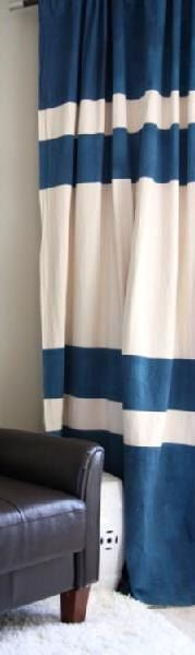 Pair of color block linen curtain panels drapes by kirtamdesigns