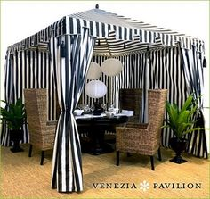 black and white cabana