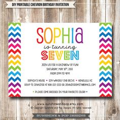 Printable Birthday Invitation - Rainbow Chevron Art Party Digital Invite -  DIY paint arts crafts colorful invitation child children