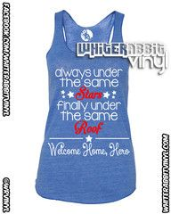 Stars Homecoming Tank Top. Perfect for those summer homecomings!    #military #homecoming #USMC #NAVY #ARMY #COASTIE #AIRFORCE #deployment #deployed #MilSO #Hero #Marine #Soldier #Sailor #Airman #summer #apparel
