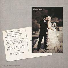 Vintage Wedding Thank You Postcard  the by NostalgicImprints