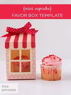 cute cupcake favor box for mini cupcakes (free printable box template)