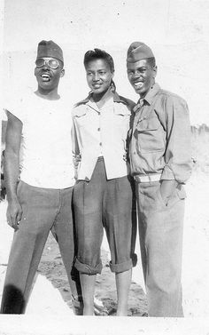 "clyde hebert-- black soldiers stationed in france during world war II  Magdalene Linck says: ""my grandpa (on left) with friends during the war"""