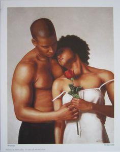 "A sensual PROMISE"" Love COUPLE African-American ART PRINT Valentine Gift Black Art MAVRUK"