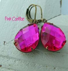 Hot pink Estate Style Earrings, Vintage Rhinestone teardrop crystal, old hollywood,  Fuschia jewels, antique brass leverback, bohemian on Etsy, $18.00