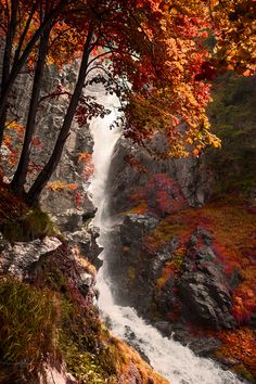 Fall colors by waterfalls