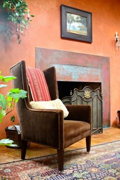 wall colors, paint wall, terra cotta, living rooms, fireplaces
