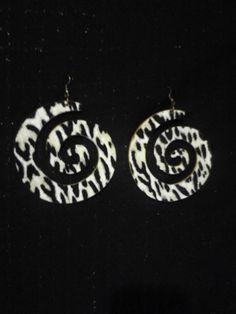 $15 Wood cheetah print earrings