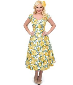 1950s Style Yellow Floral Dolores Swing Dress
