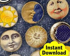 Moon, Sun and Stars / Tags / Labels - INSTANT DOWNLOAD 2 Inch Round Designs Digital JPG Collage Sheet.  Etay