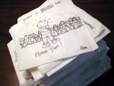 lunch box napkin art/notes